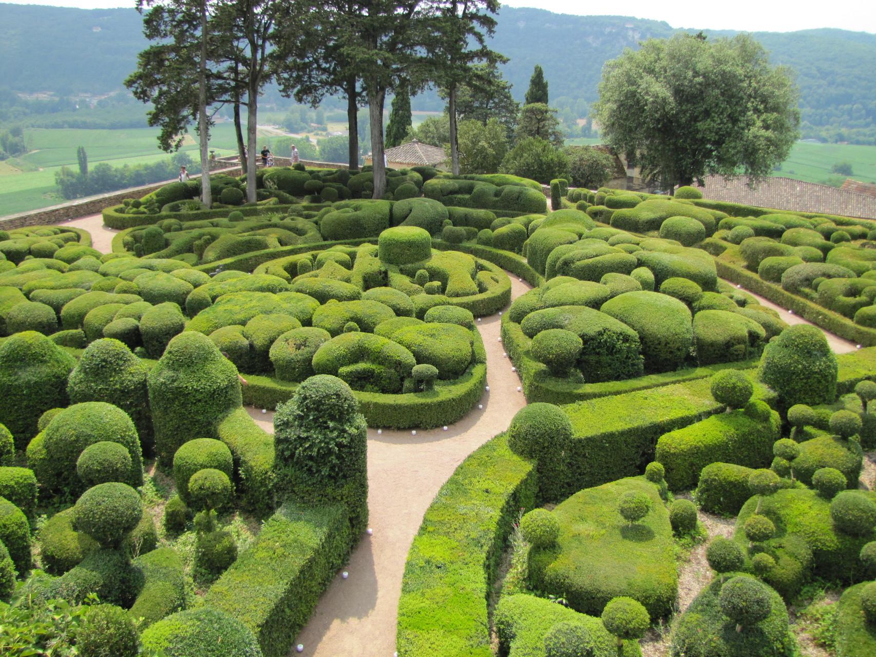 De tuinen van Marqueyssac in de Dordogne, Frankrijk.