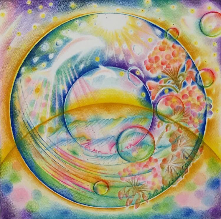シャボン玉の描き方 関西 大阪 兵庫 オーラ診断 鑑定しアート絵画等を制作 Aura Artist Yucon
