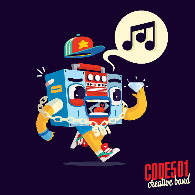 character design, code501 - creative band, boombox