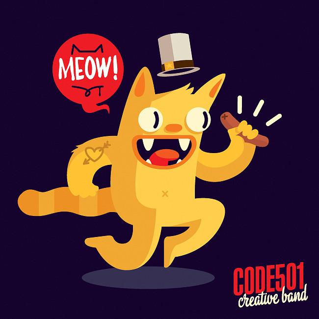 character design, code501 - creative band, cat