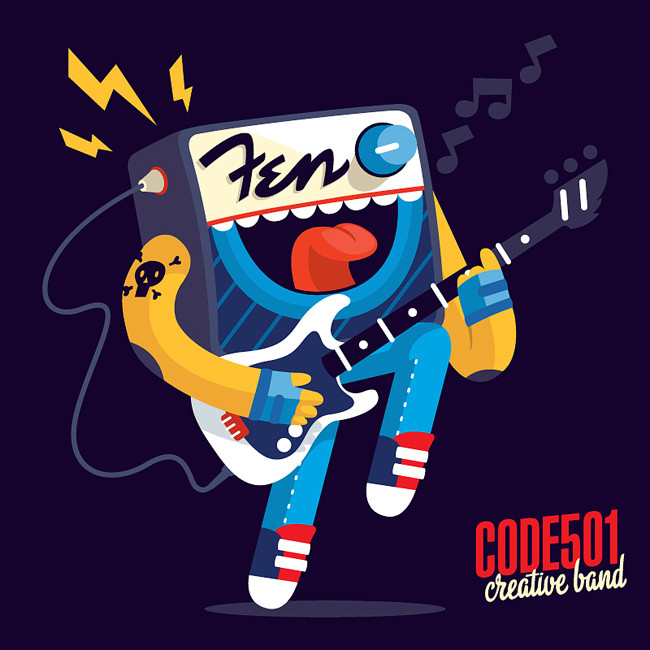 character design, code501 - creative band, fender, music, logotype, column, speaker