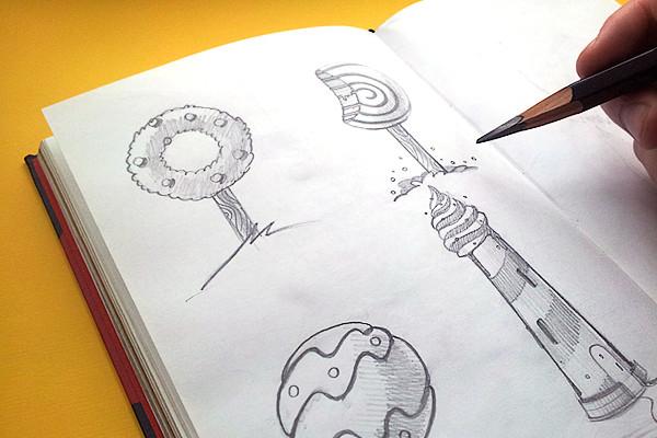 code501 - creative band Donut's Club packaging, illustration. Иллюстрация на упаковку пончиков. Скетчи, Sketchbook