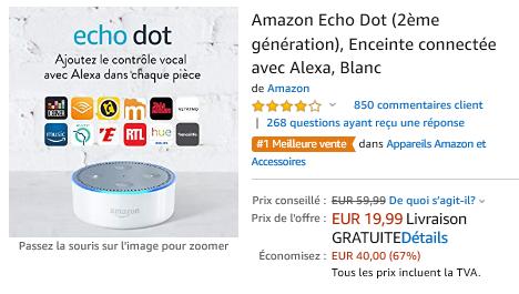 Promotion réduction de 67% off : Echo Dot 2è génération : 19,99 euros (au lieu de 59,99 euros) sur www.2bamboo.jimdo.fr