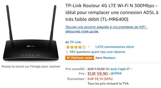 ROUTEUR 4G LTE TP LINK 59,99 EUROS PROMOTION (au lieu de 119 euros) Promotion 50%