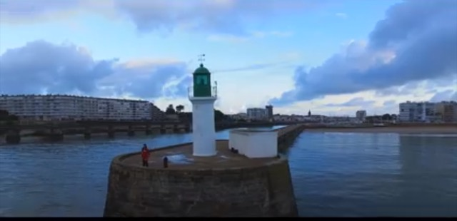 Green light house at Les Sables d'Olonne