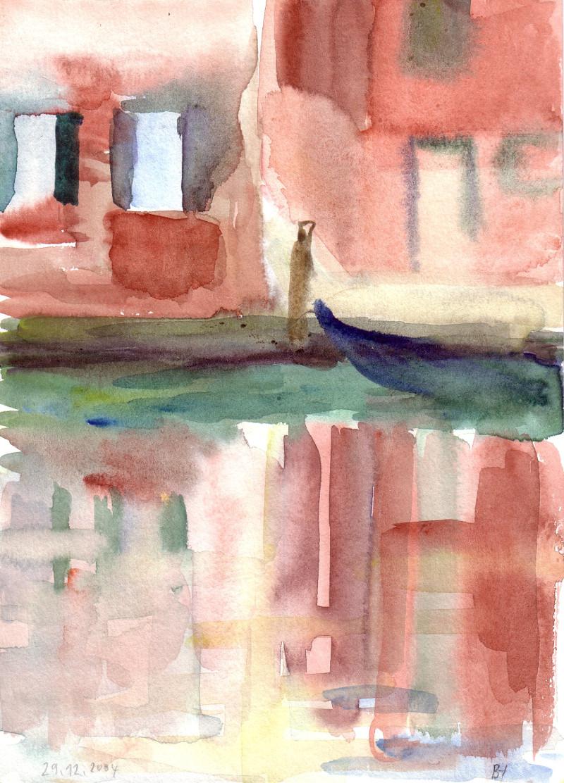 Spiegelung im Rio SCaterina von der Ponte Seriman 20,4 x 14,8 cm
