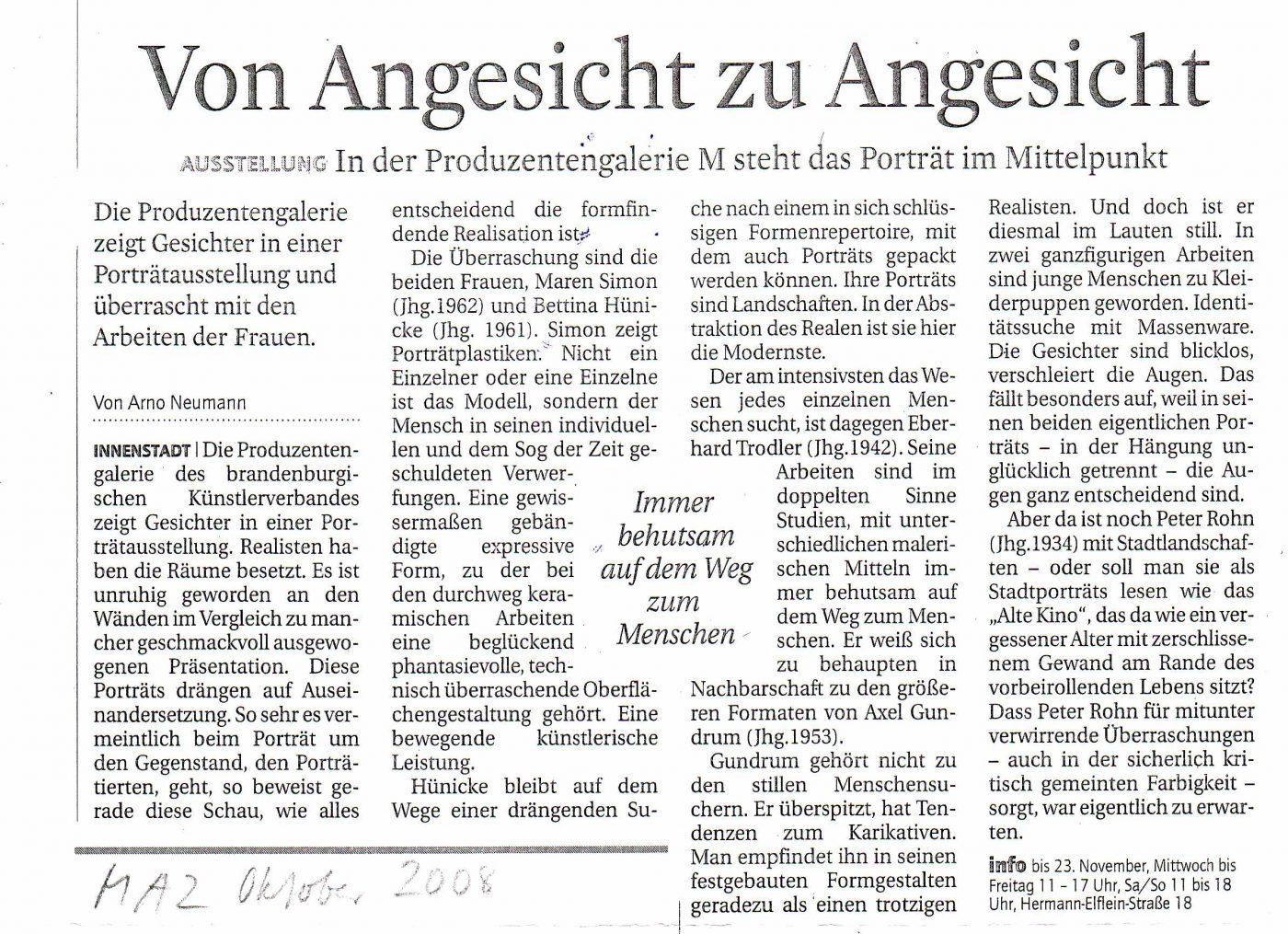 Oktober 2008: Von Angesicht zu Angesicht MAZ, Rezension von Arno Neumann