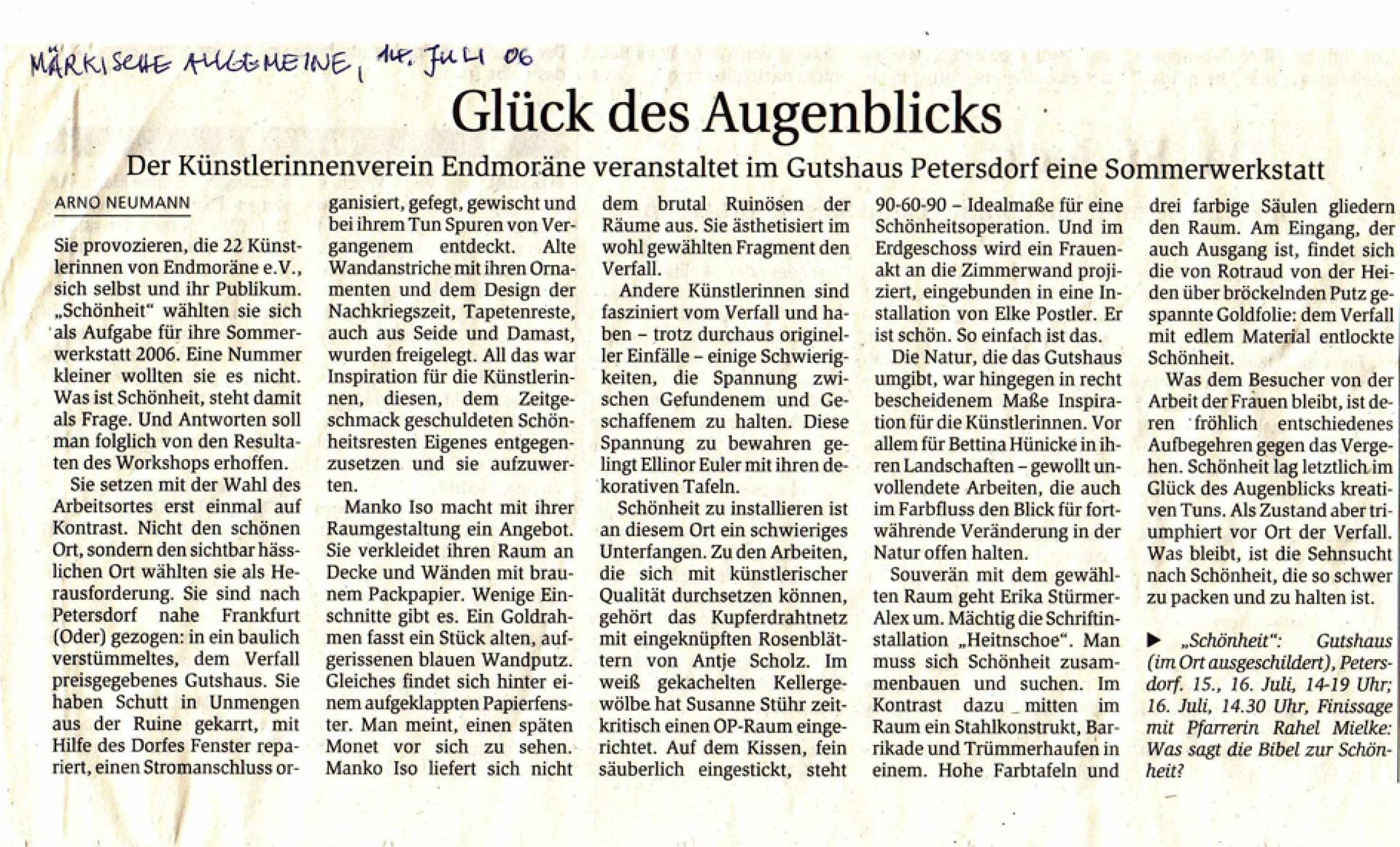 Juli 2006: Glück des Augenblicks MAZ, 14. Juli 2006, Rezension von Arno Neumann