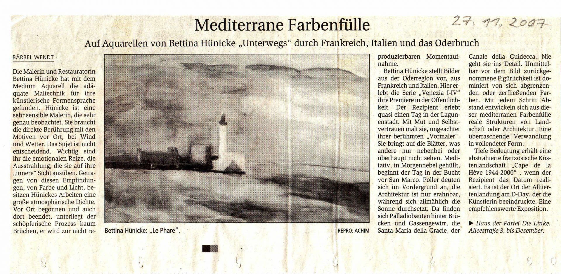 November 2007: Meditterane Farbenfülle MAZ 27.11.2007, Rezension von Bärbel Wendt
