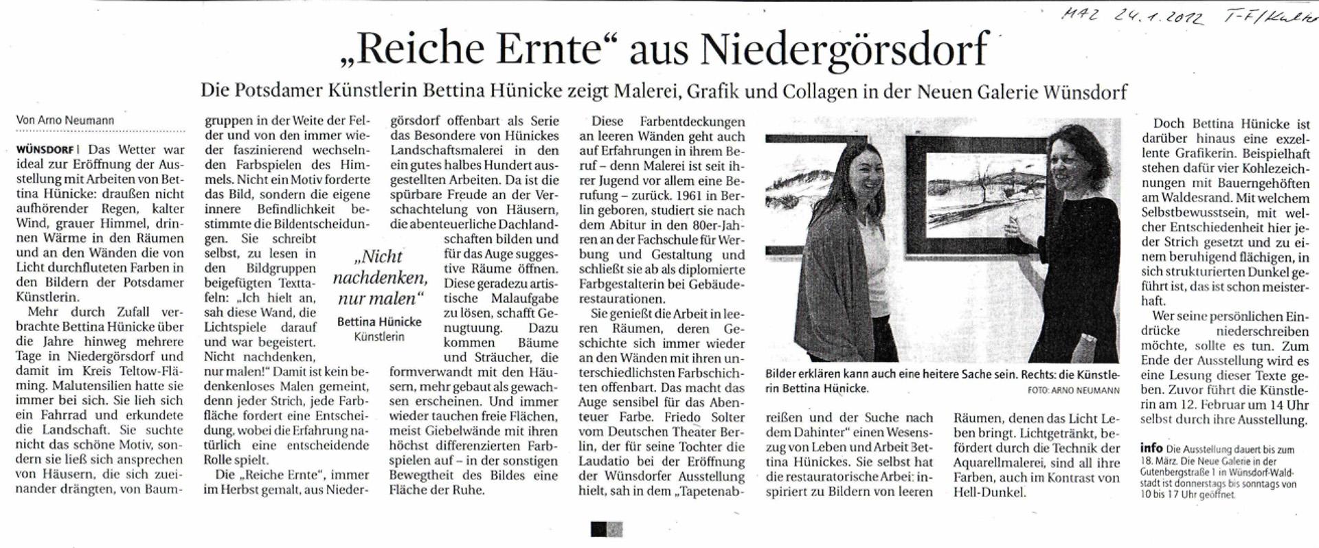 """Januar 2012: """"Reiche Ernte"""" aus Niedergörsdorf MAZ, Teltow-Fläming Kultur 24.01.2012, Rezension von Arno Neumann"""