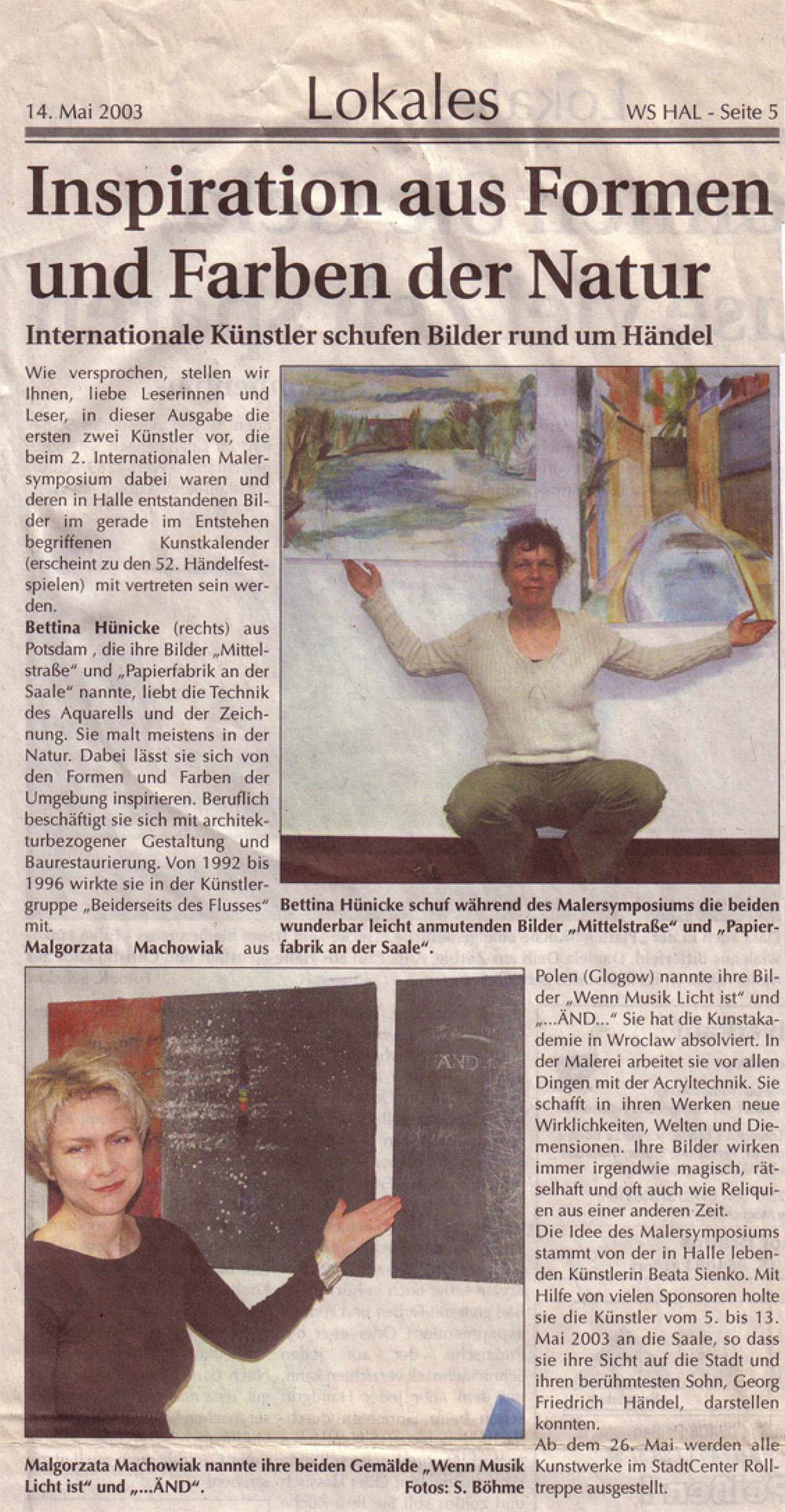 Mai 2003: Inspiration aus Formen und Farben der Natur WS HAL