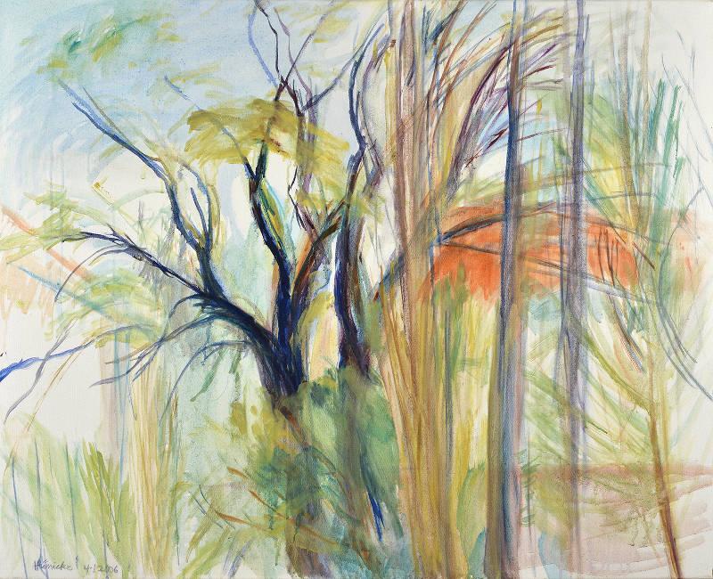 Frühling vor dem Atelier Öl auf Leinwand 80 x 100 cm