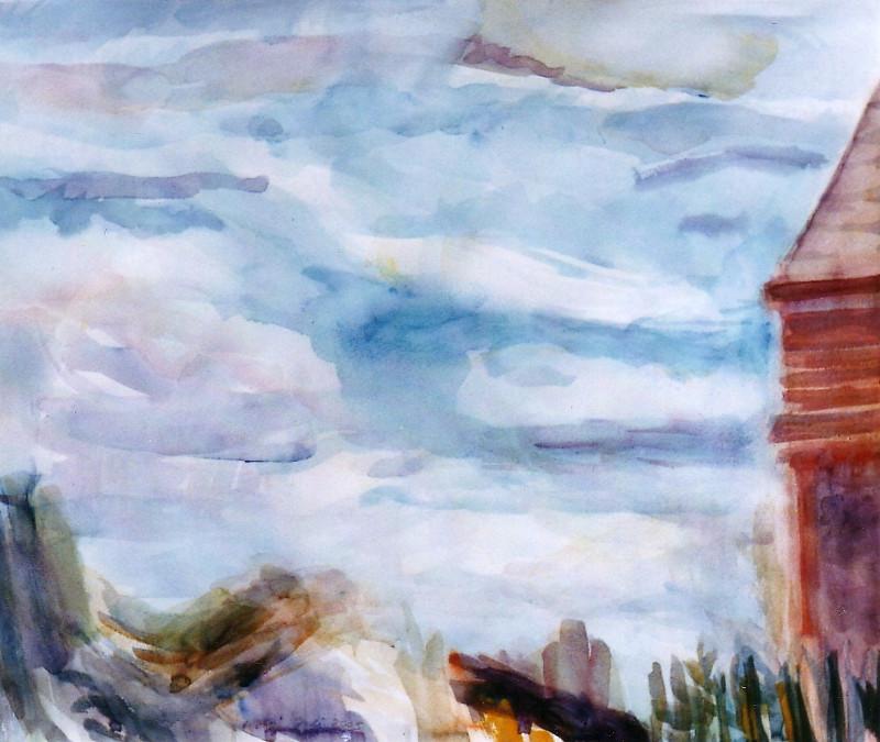 Himmel über´ m Gehöft Aquarell 51 x 63 cm