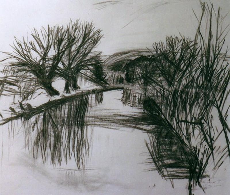 Am Kanal bei Frost 49 x 56 cm