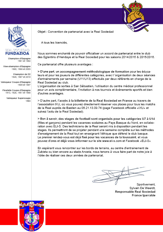 Courrier officiel partenariat Eglantins Hendaye - Real Sociedad