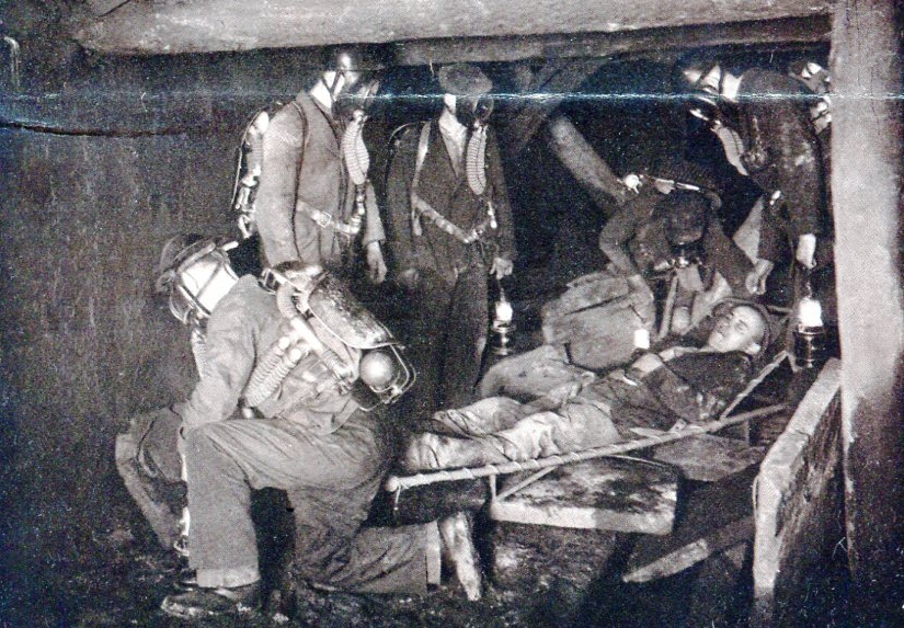 Ernstfallübung Grube Barbara mit Dräger-Modell 1924,    1928