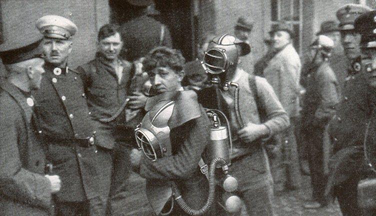 Rettungsleute Grube Maybach an der Saar  1930