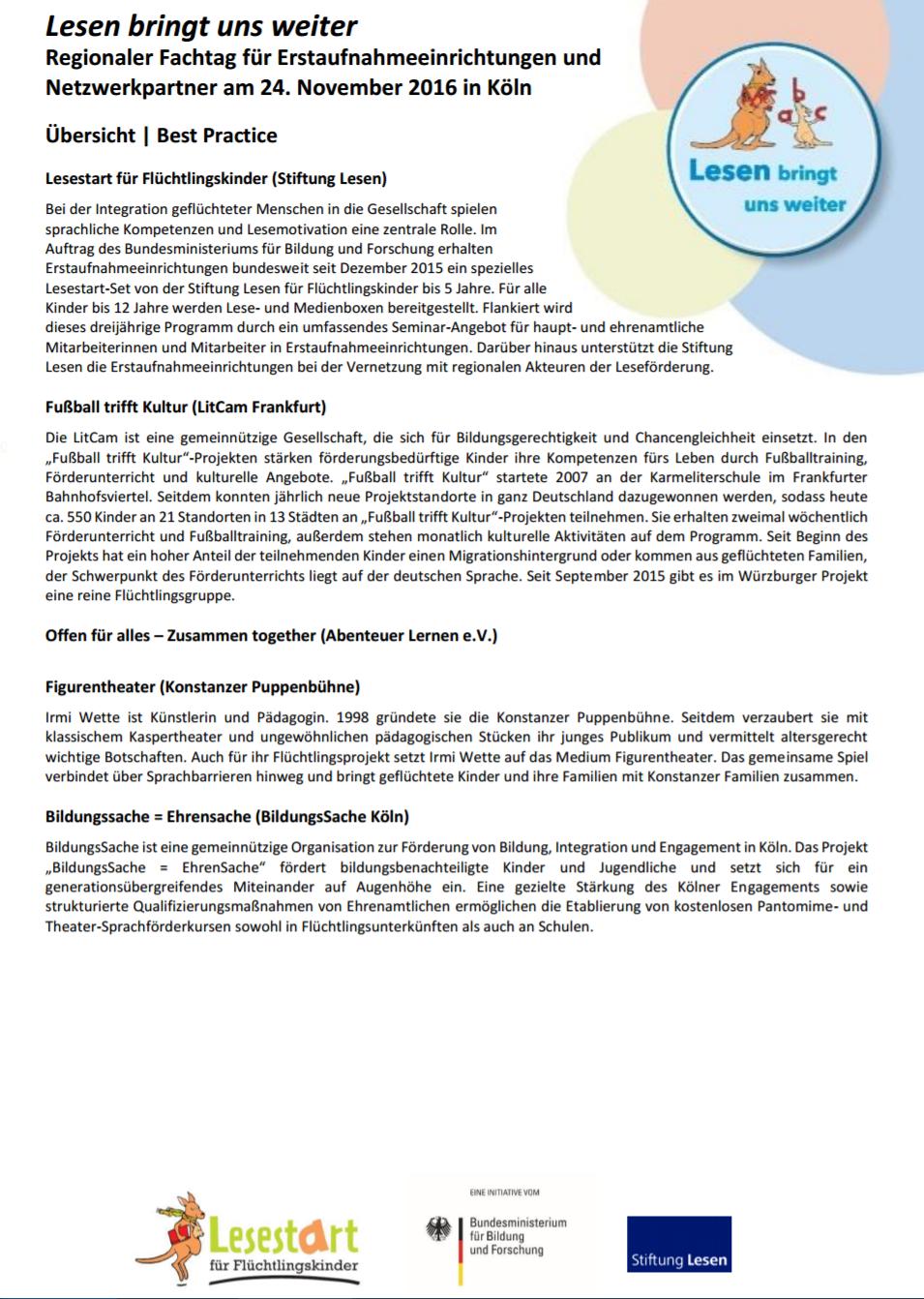 Best-Practise-Projekt: Kölner Fachtag Stiftung Lesen