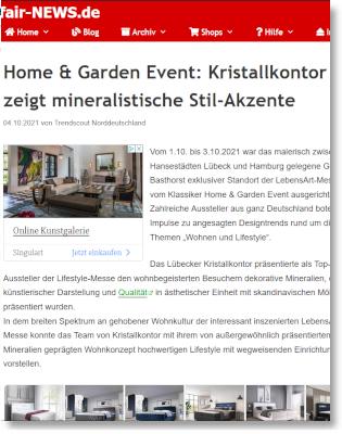 Fair-News: Home & Garden Event: Kristallkontor zeigt mineralistische Stil-Akzente