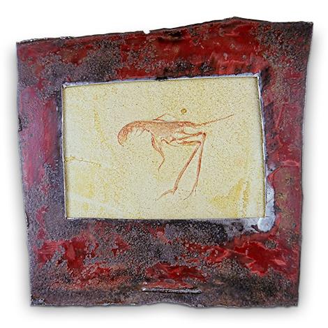 Mineralkunst. Versteinerte Krabbe aus den Solnhofener Plattenkalken mit Metallrahmen.
