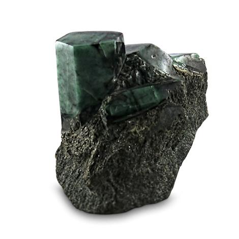 Großer polierter Smaragd in Muttergestein.
