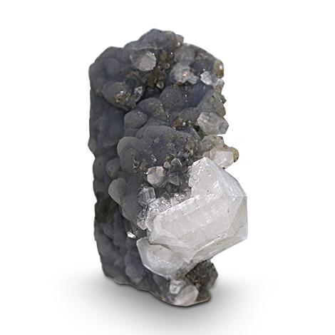 Großer Apophyllitkristall auf Chalzedon-Matrix. Dekoratives Mineral.