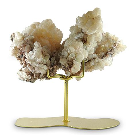 Mineralkunst. Skulptur in Baumform - Aragonit auf goldfarbenem Metallfuß.