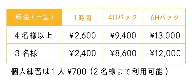 Lスタジオの料金表(福岡のスタジオ 音楽堂PLUM)