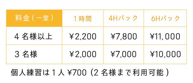 Bスタジオの料金表(福岡のスタジオ 音楽堂PLUM)