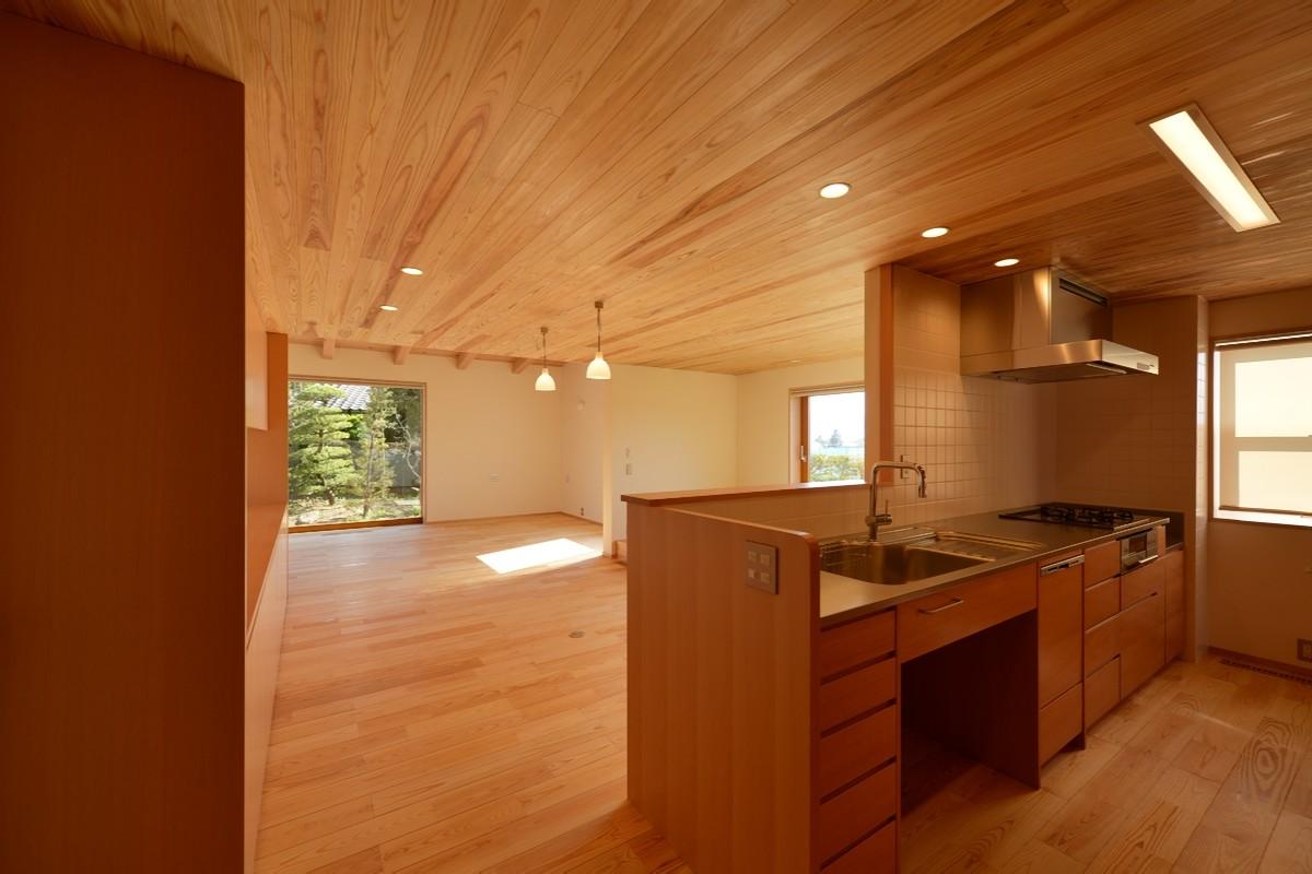 里山辺の家(松本市)-台所~食堂・居間