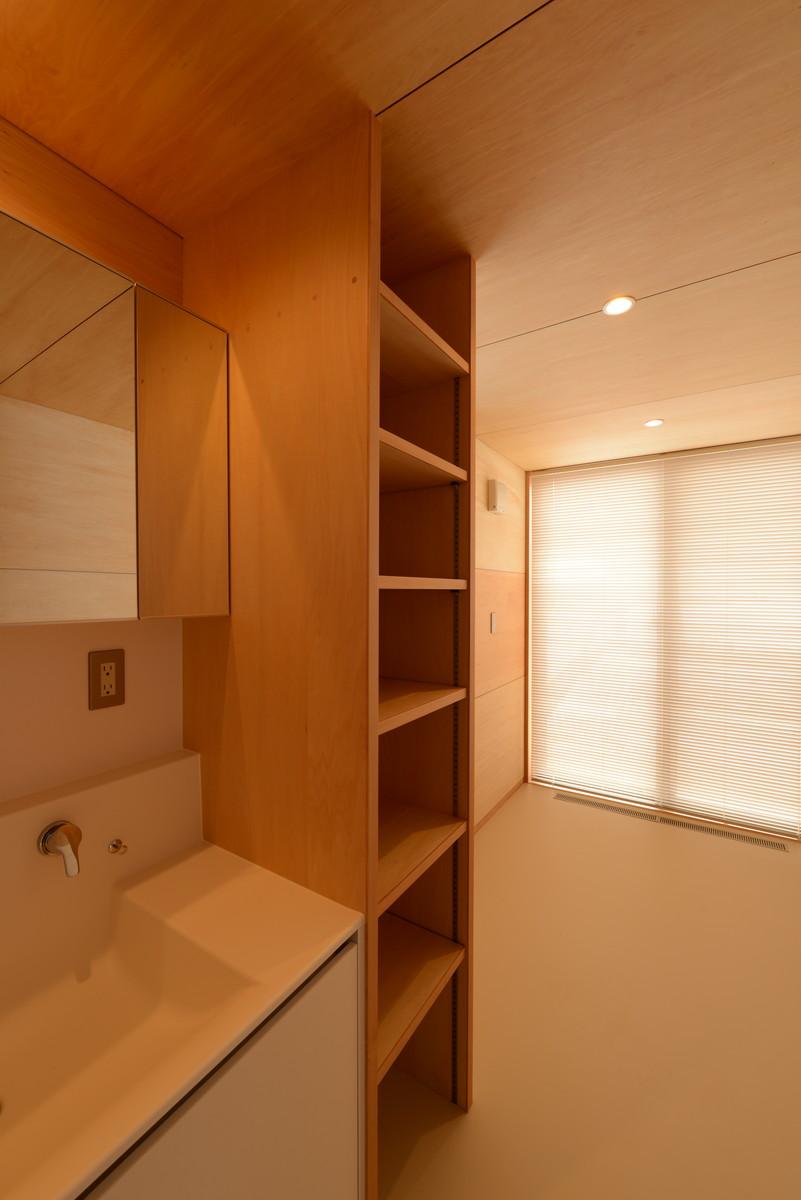 三郷の家Ⅴ(安曇野市)-洗面脱衣室・洗濯物干し場