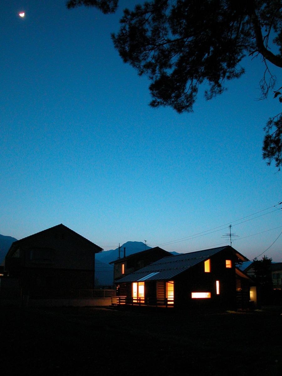 穂高有明の家Ⅲ(安曇野市)-外観夜景