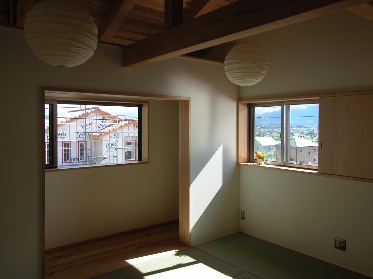 光の家(安曇野市)-寝室+物干し場