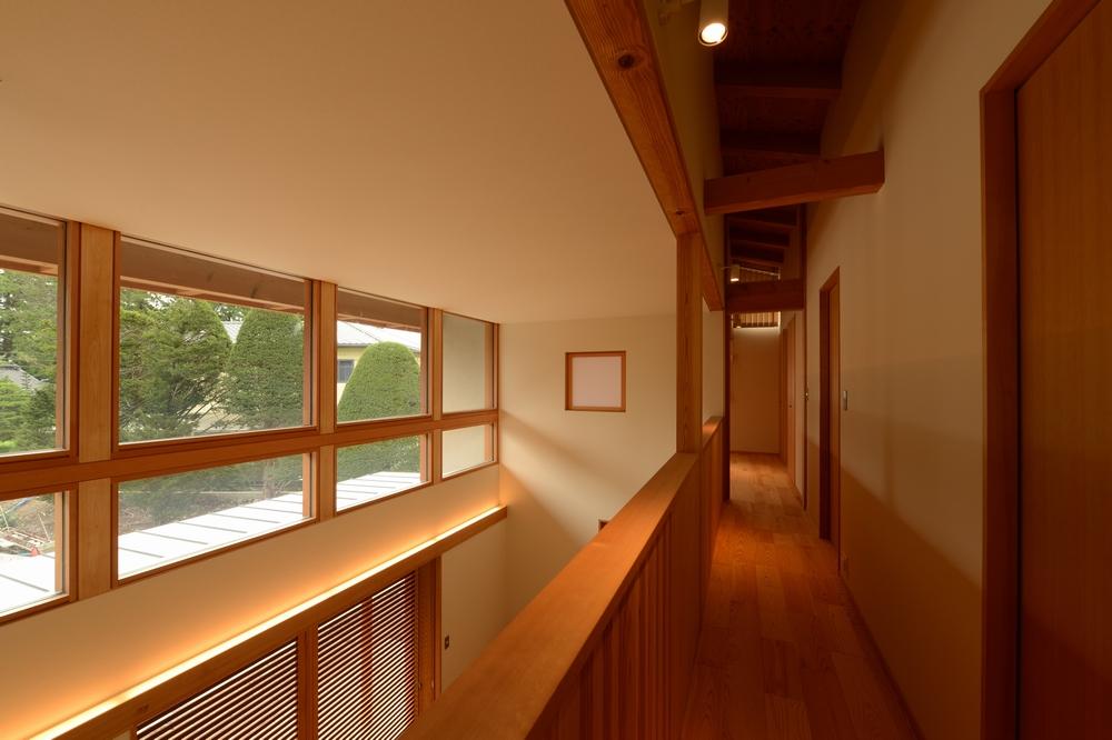 三郷の家Ⅲ(安曇野市)-2階廊下・吹抜