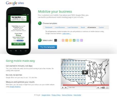Google「ものの数分でモバイルサイトを作成して運用を開始できる」
