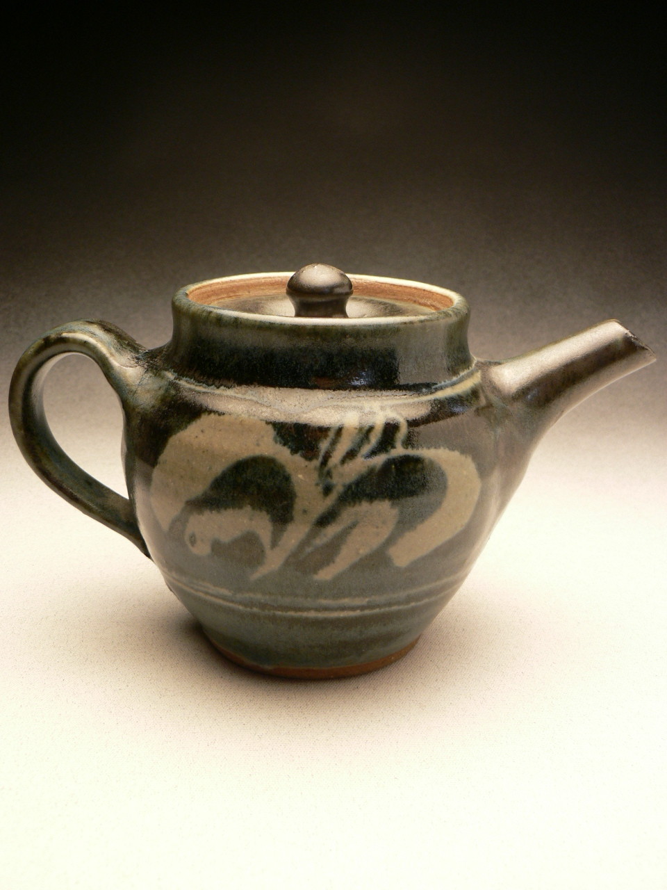 MIREK SMISEK - VINTAGE TEAPOT, STONEWARE, GREY GLAZE, WAX RESIST, BRUSHWORK, DARK BLUE OVER GLAZE, POTTER'S STAMP, RESTORED SMALL CHIP ON SPOUT- 11cmH x 12cmD x 20cmW, 0.9kg - NZ$875 - #MSR6