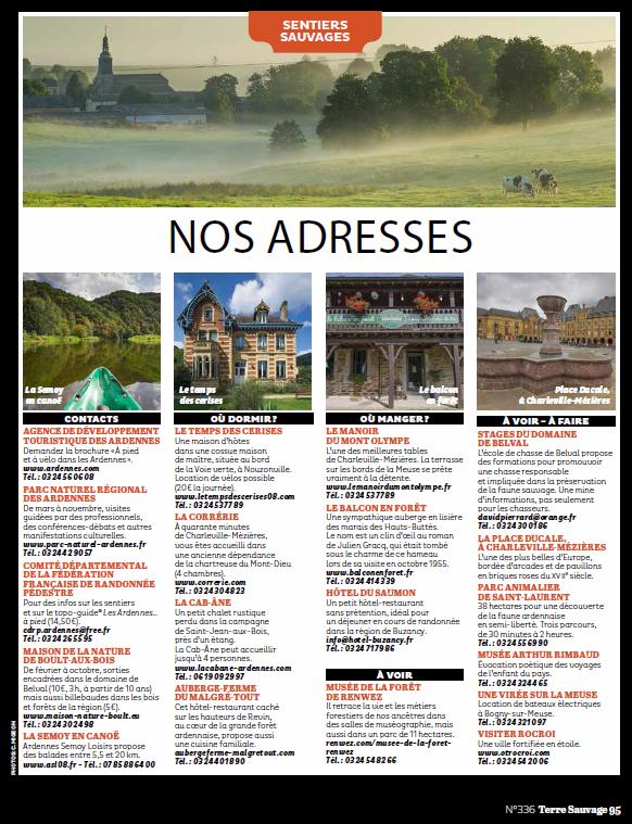Dossier sur les Ardennes dans le numéro 336 de Terre Sauvage de décembre 2016