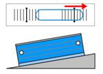 気泡が右側に移動=右側が高い