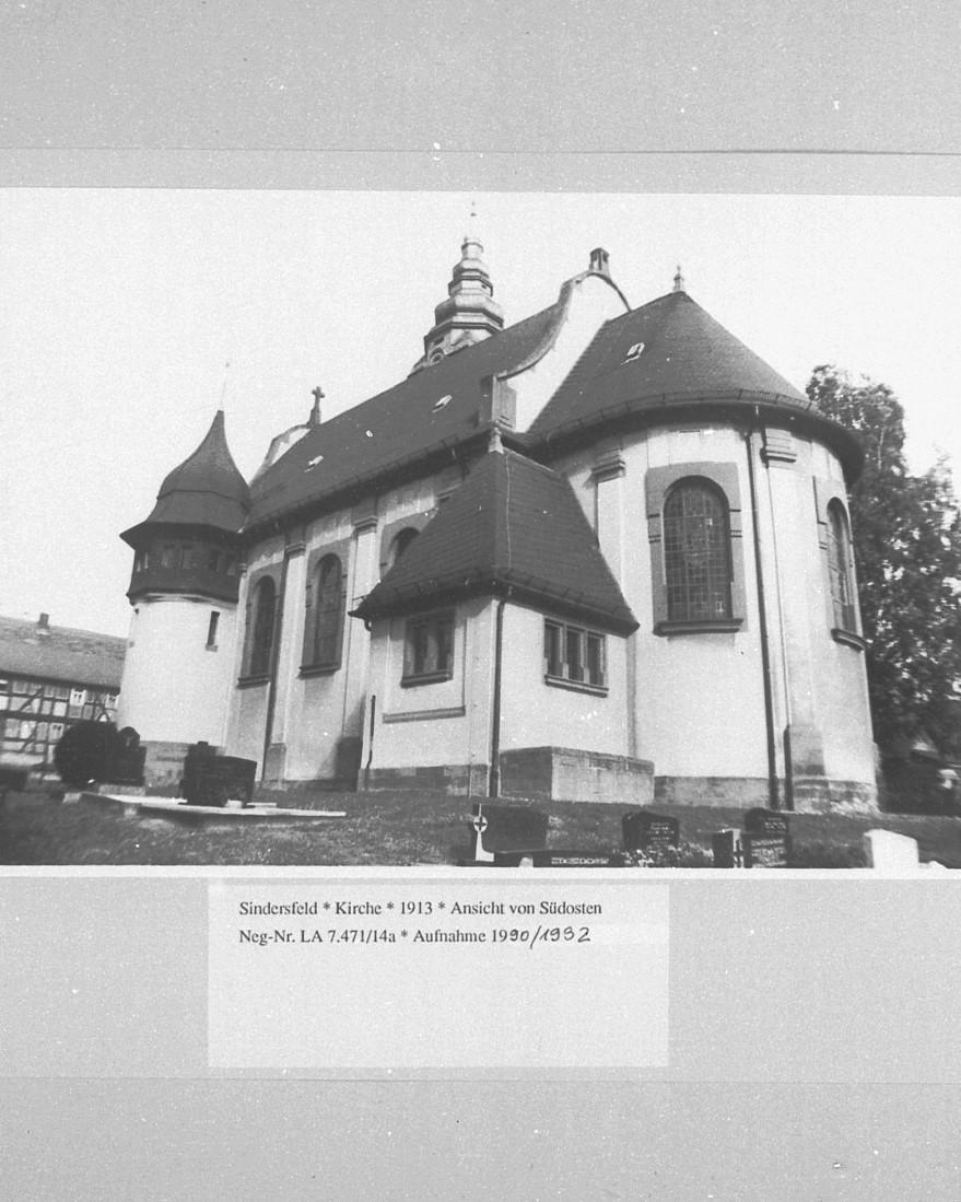 Ansicht der Kirche von Süd-Osten aus dem Jahre 1990/92