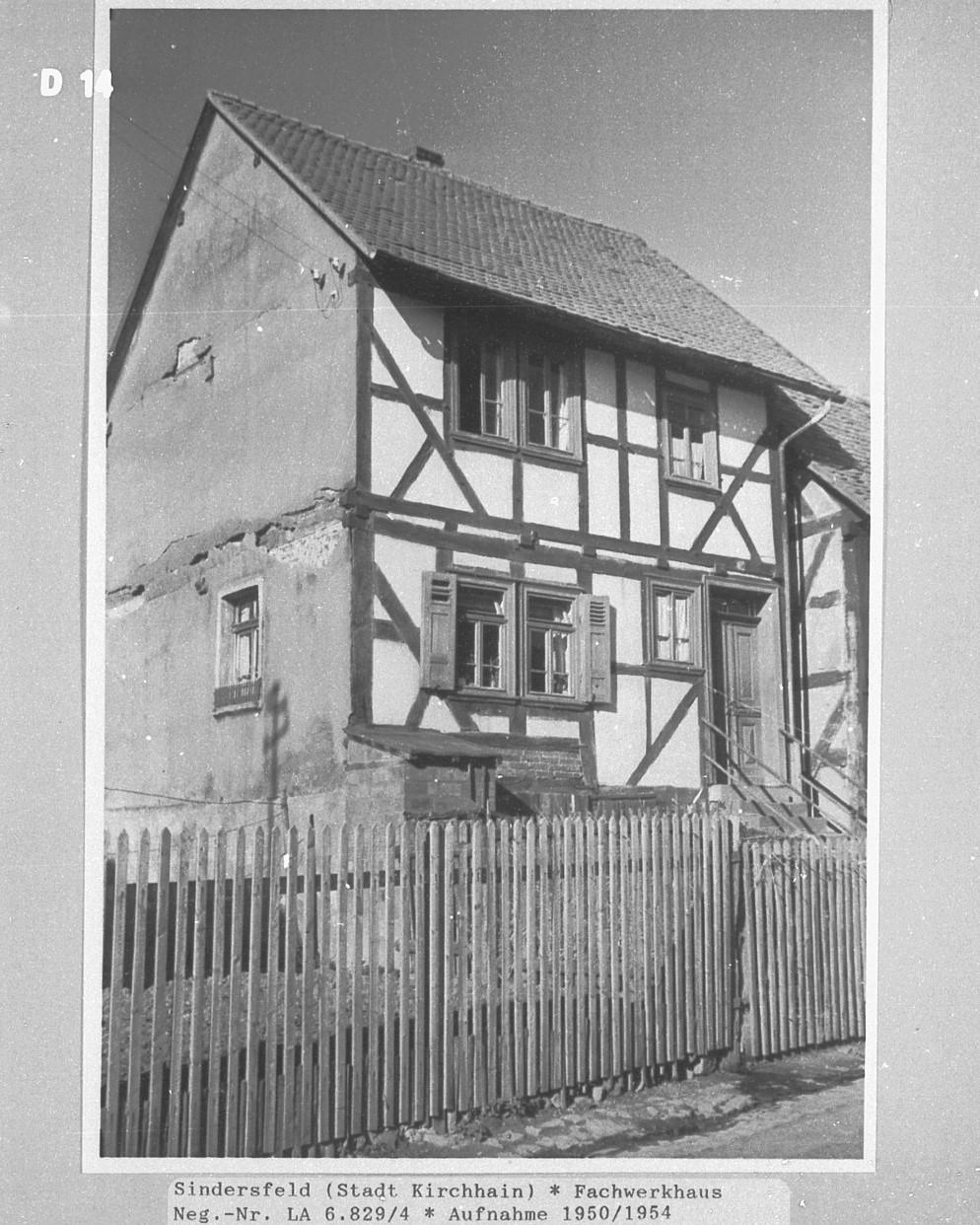Fachwerkhaus Aufnahme von 1950/54