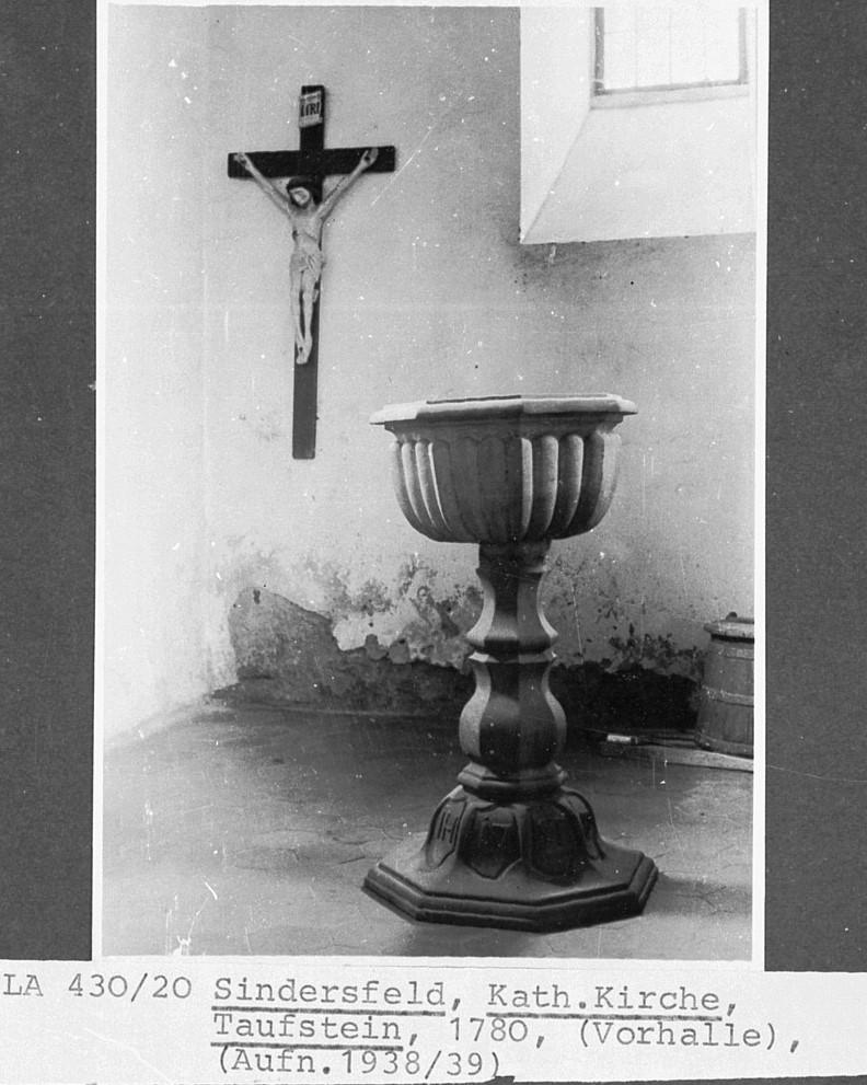 Taufstein von 1780, Aufnahme von 1938/39