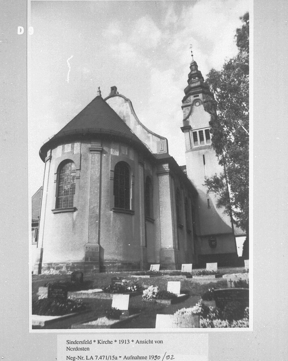 Ansicht der Kirche von Nord-Osten aus dem Jahre 1990/92