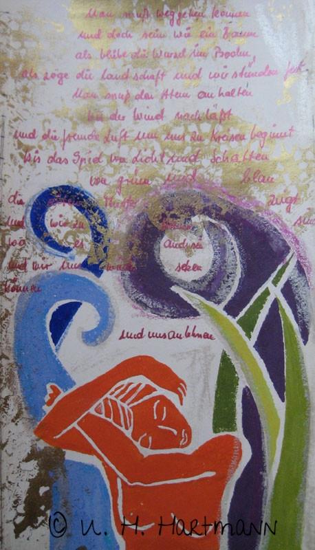 """""""Man muss weggehen können und doch sein wie ein Baum"""", Linol-und Materialdruck auf Seidenpapier,  60 x 40"""