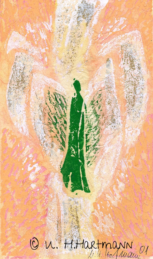 """Engel"", Linoldruck auf Seidenpapier,40 x 30"