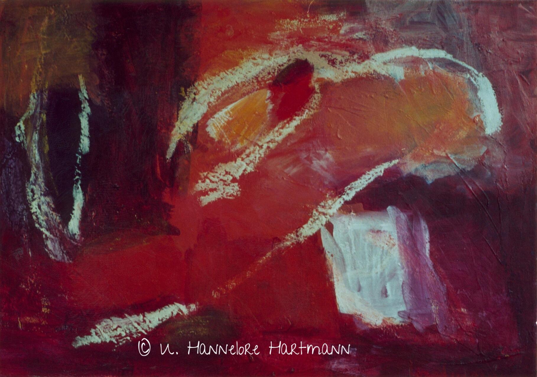 """""""Aus dem Vollen schöpfen - Rot"""" , Acryl, Pigmente auf Nessel, Ölkreide 50 x 70, mit Kupferrohrah"""
