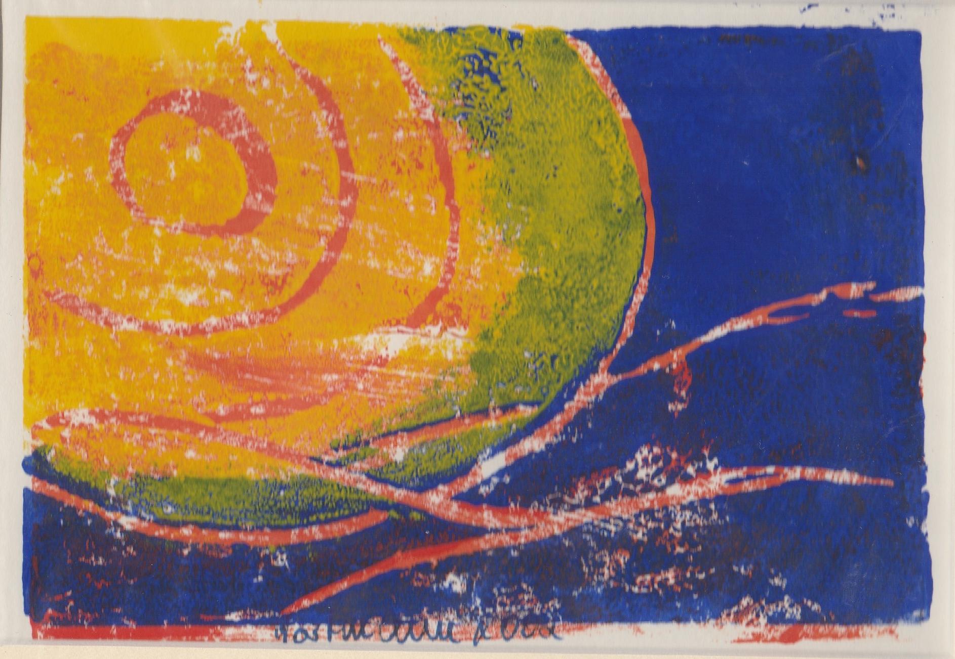 """""""Sonne in blauer Landschaft"""" Linolschnitt auf Papier, 24  x 30, Gewinn """"Adventskalender der Erfolgsfrauen 2020"""""""