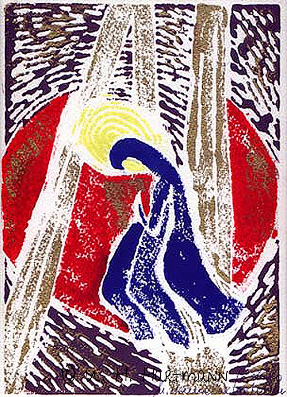 """""""Maria"""", Linoldruck, 40 x 30"""