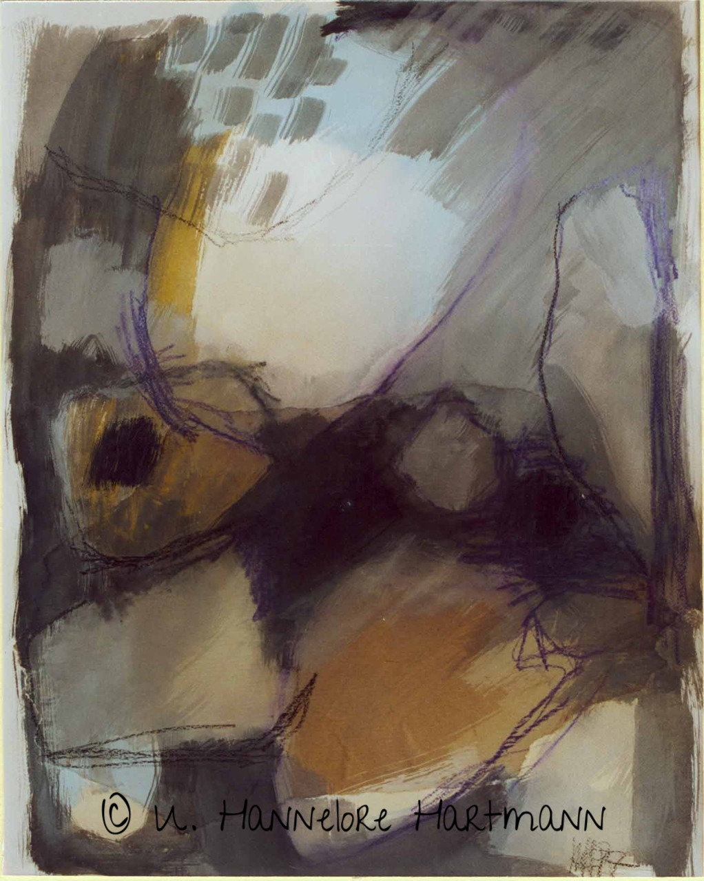 """ Chaos""  Collage, Aquarell auf Papier, 70 x 50"