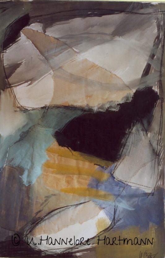 """Ohne Titel""   Collage, Aquarell auf Papier,70 x 50"