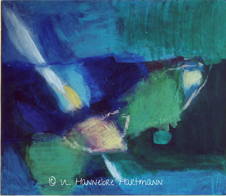 """""""Einkehr - Blau"""",  Acryl, Pigmente auf Nessel, Ölkreide,  70 x 80,  mit Kupferrohrahmen"""